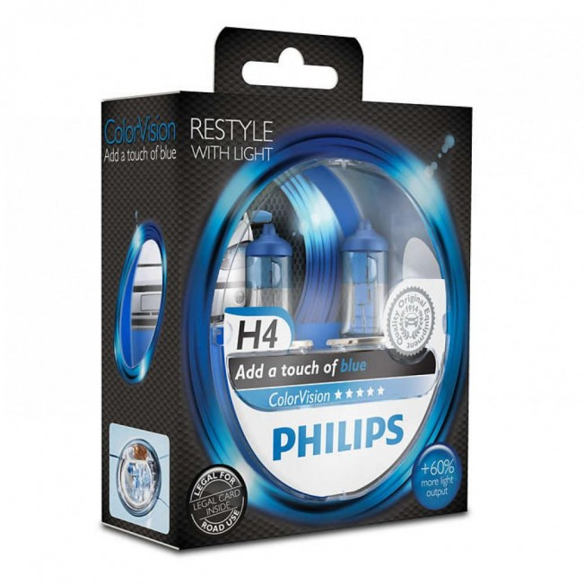 Лампа галогенная Philips H4 ColorVision Blue, 3350K, 2шт/блистер 12342CVPBS2